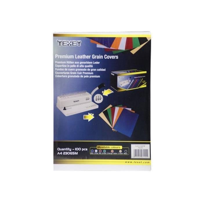 Plat couverture grain cuir blanc 230gsm A4 216x303mm paquet de 100