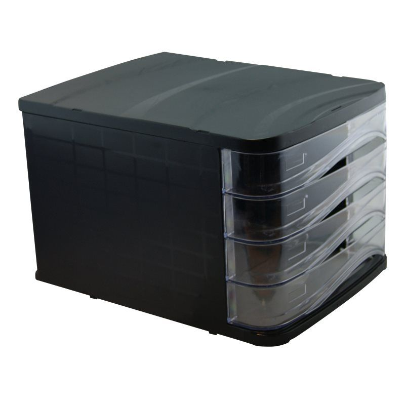 Bloc de classement noir rangement 4 tiroirs transparents
