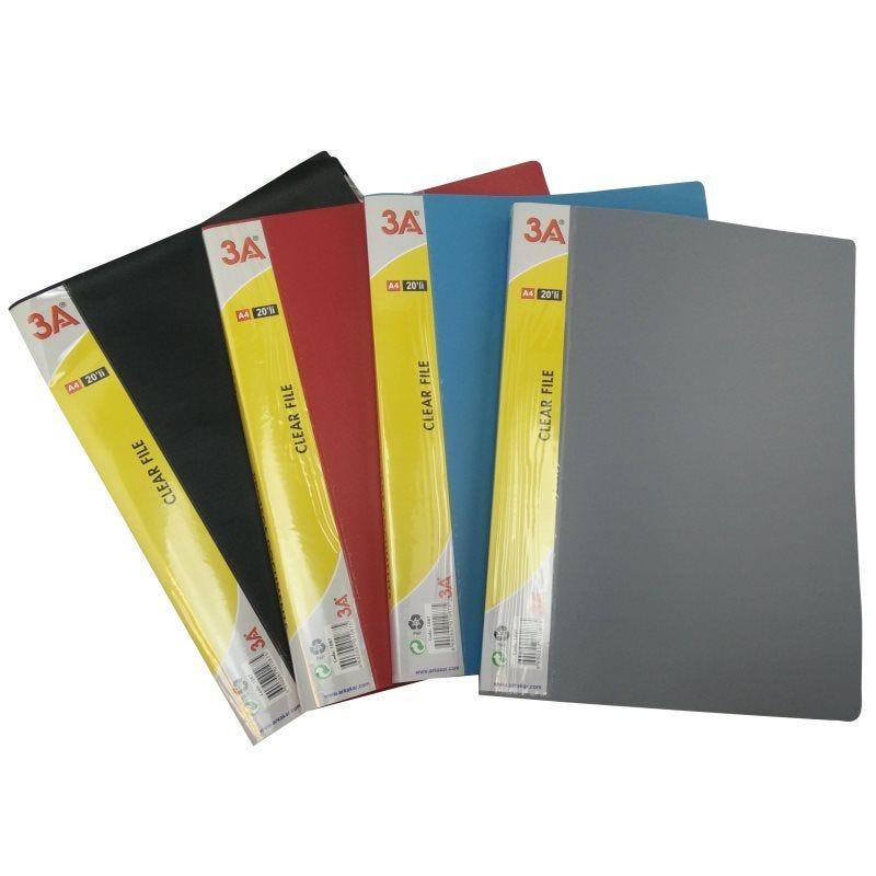 Protège documents souple assortiment de couleurs N,B,R,G 20 pochettes