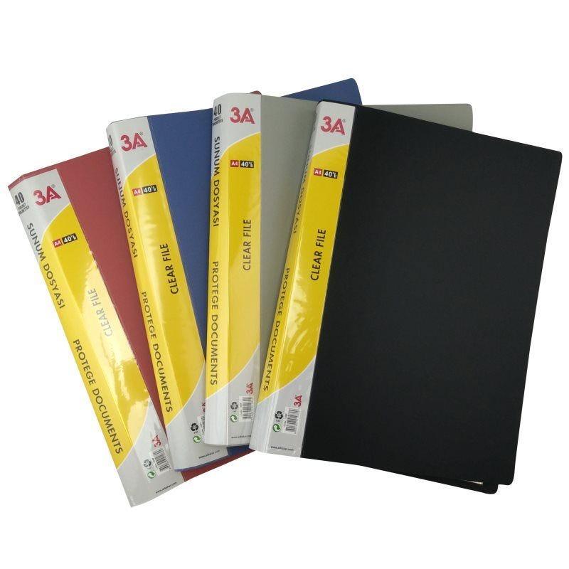 Protège documents souple assortiment de couleurs N,B,R,G 40 pochettes
