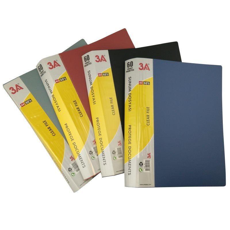 Protège documents souple assortiment de couleurs N,B,R,G 60 pochettes