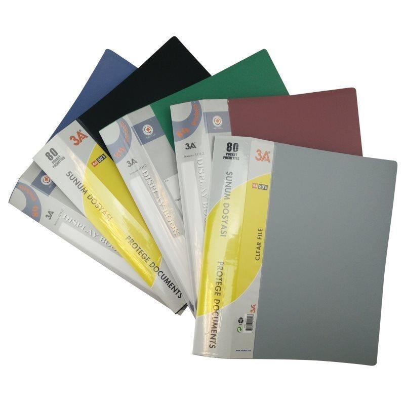 Protège documents souple assortiment de couleurs N,B,R,G 80 pochettes