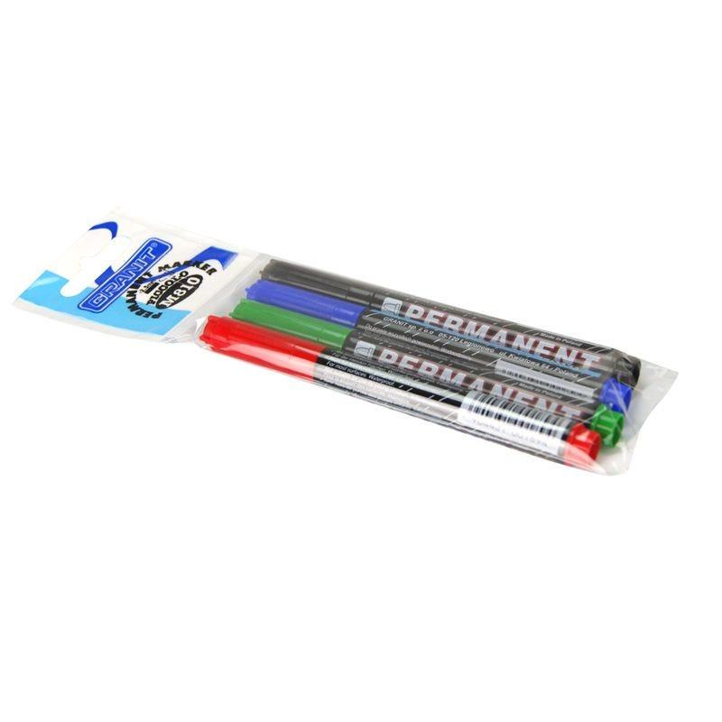 Marqueur permanent Lot de 4 Noir, Bleu, Rouge, Vert ogive 2 mm
