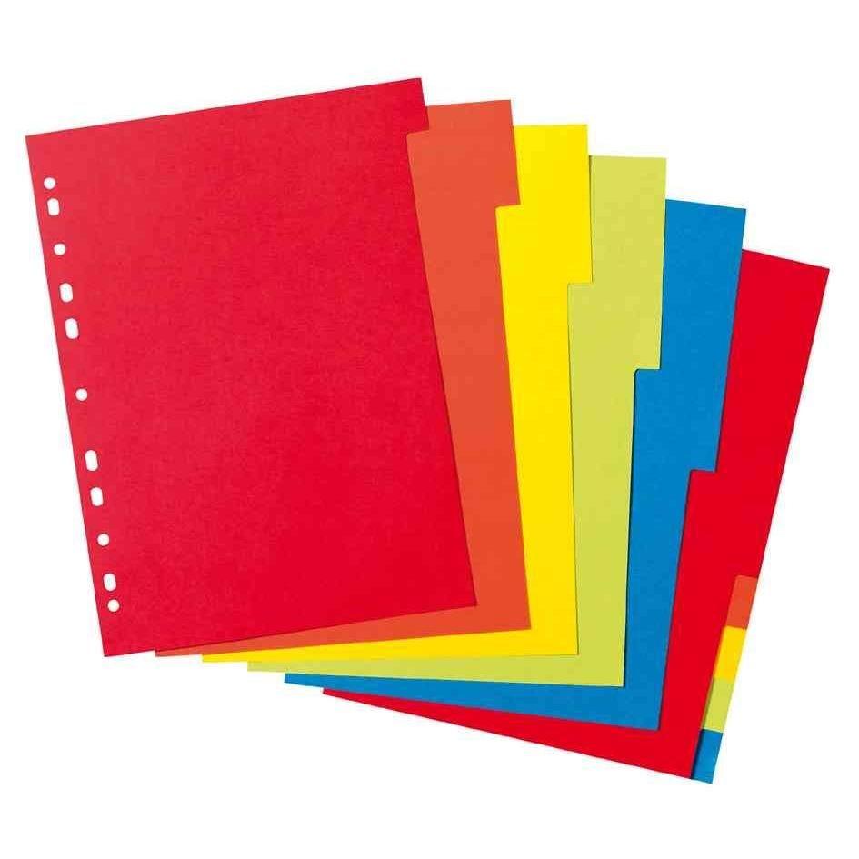 Intercalaire en carton, uni, A4, coloré, de 10 pièces