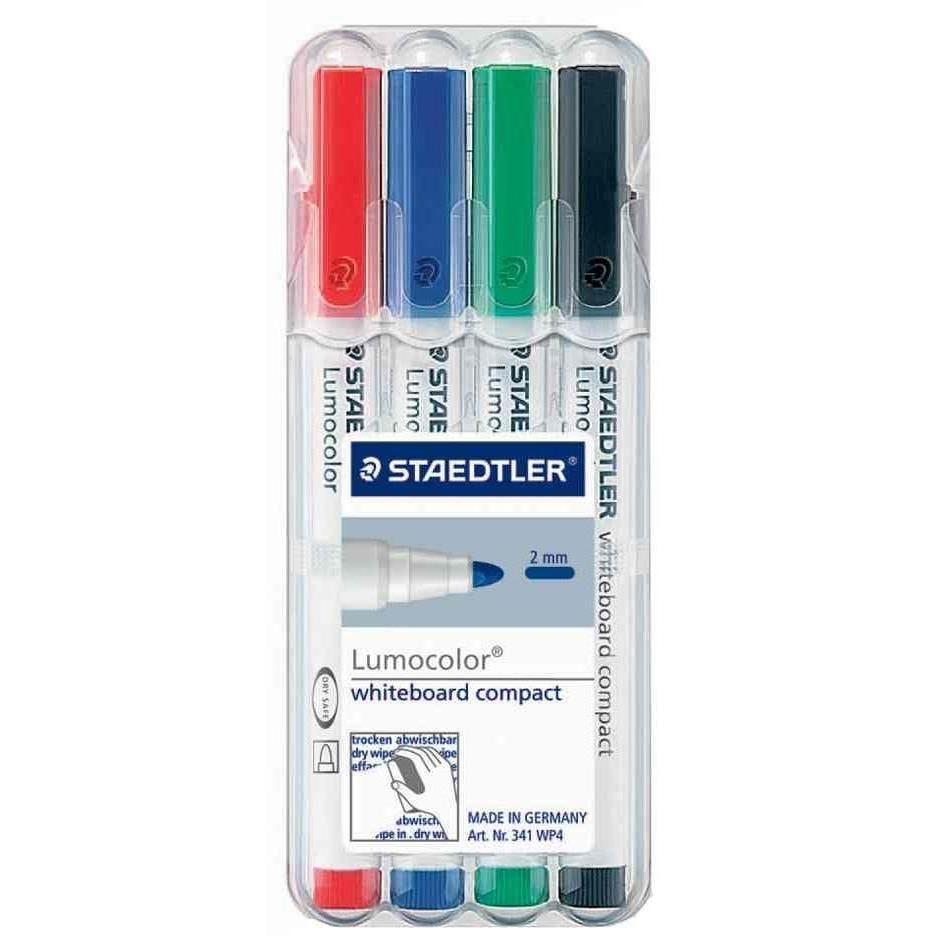 kit de 4 marqueurs pour tableau blanc Lumocolor Pte Ogive 1-2 mm Assortis