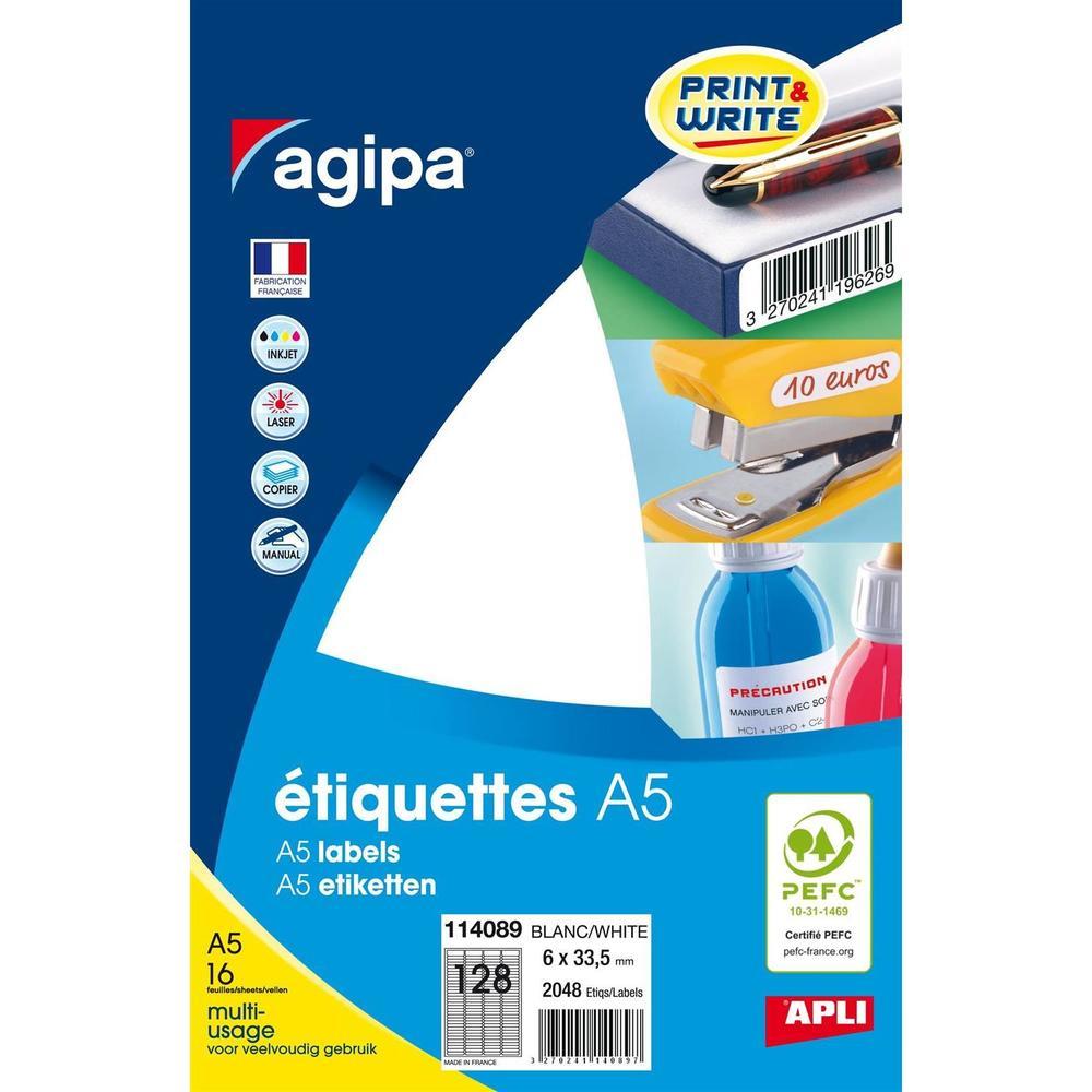 Etui A5 ( 16F ) de 2048 Étiquettes multi-usage Permanentes 6x33,5 mm Blanc