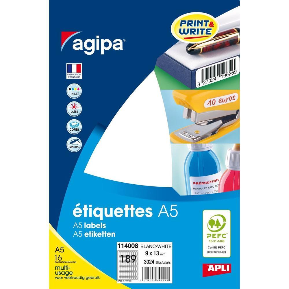 Etui A5 ( 16F ) de 3024 Étiquettes multi-usage Permanentes 9x13 mm Blanc