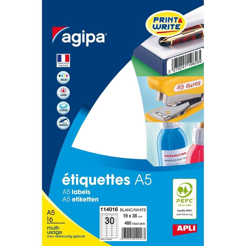 Etui A5 ( 16F ) de 480 Étiquettes multi-usage Permanentes 19x38 mm Blanc