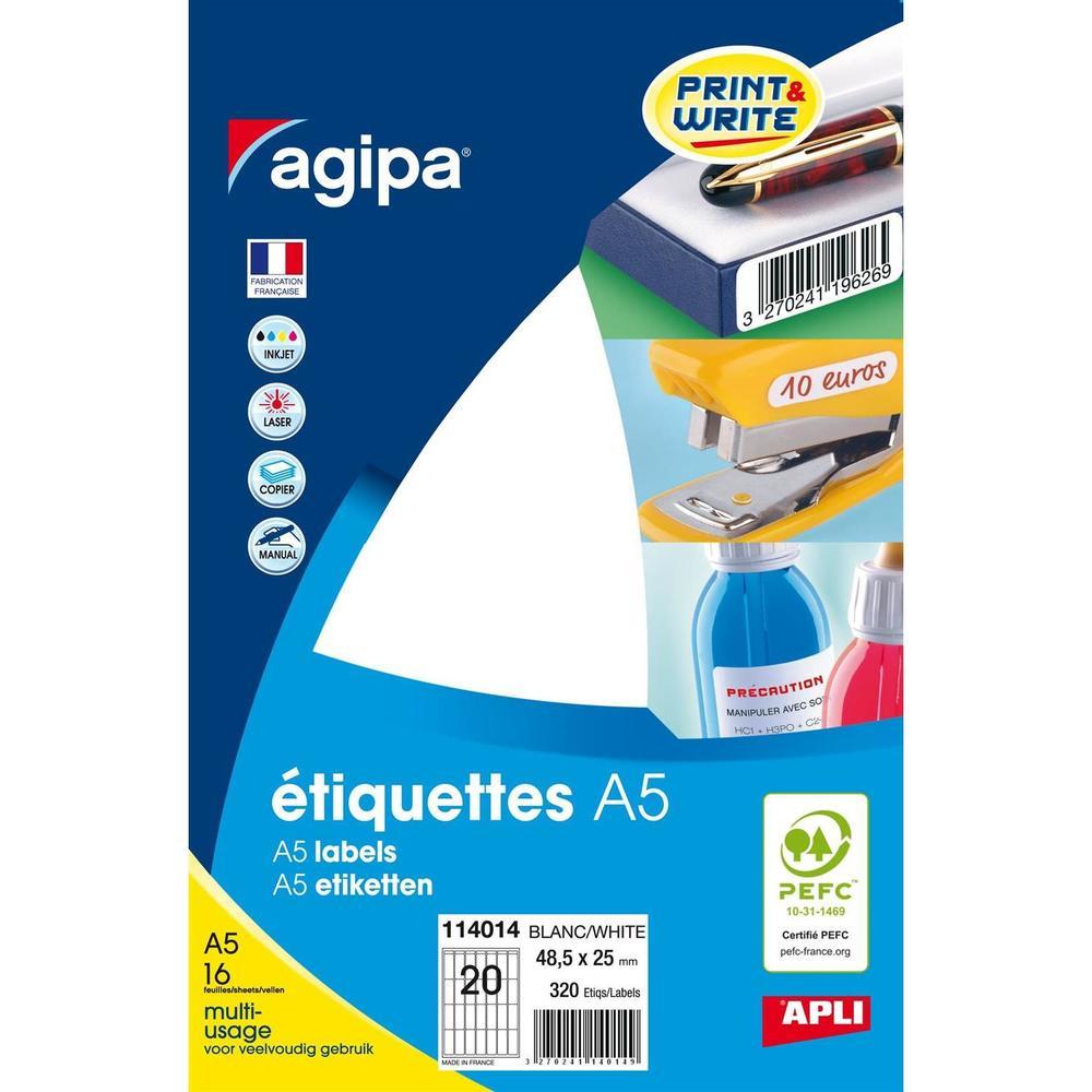 Etui A5 ( 16F ) de 320 Étiquettes multi-usage Permanentes 25x48,5 mm Blanc