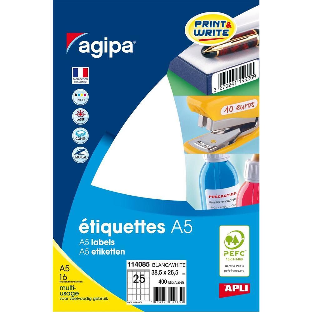 Etui A5 ( 16F ) de 400 Étiquettes multi-usage Permanentes 38,5x26,5 mm Blanc