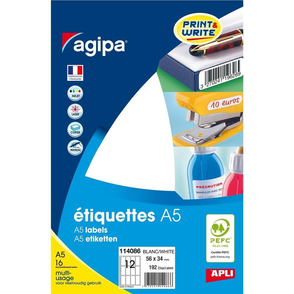 Etui A5 ( 16F ) de 192 Étiquettes multi-usage Permanentes 56x34 mm Blanc