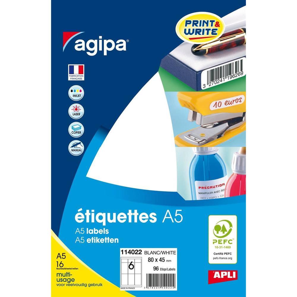 Etui A5 ( 16F ) de 96 Étiquettes multi-usage Permanentes 80x45 mm Blanc