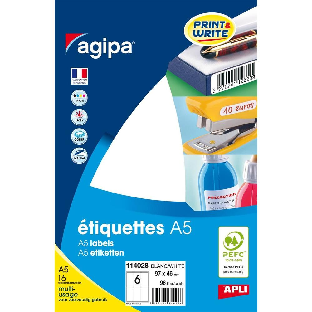Etui A5 de 96 Étiquettes multi-usages 97x46 mm blanc
