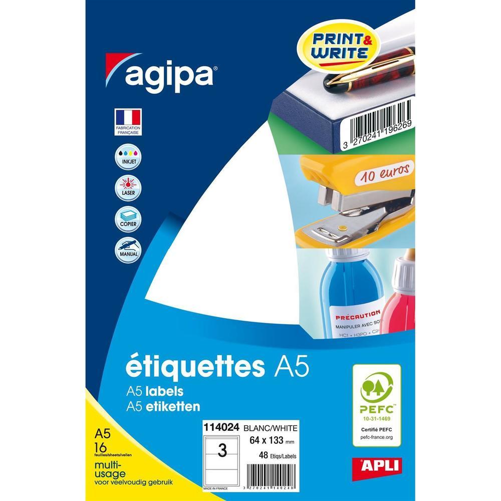 Etui A5 ( 16F ) de 48 Étiquettes multi-usage Permanentes 64x133 mm Blanc