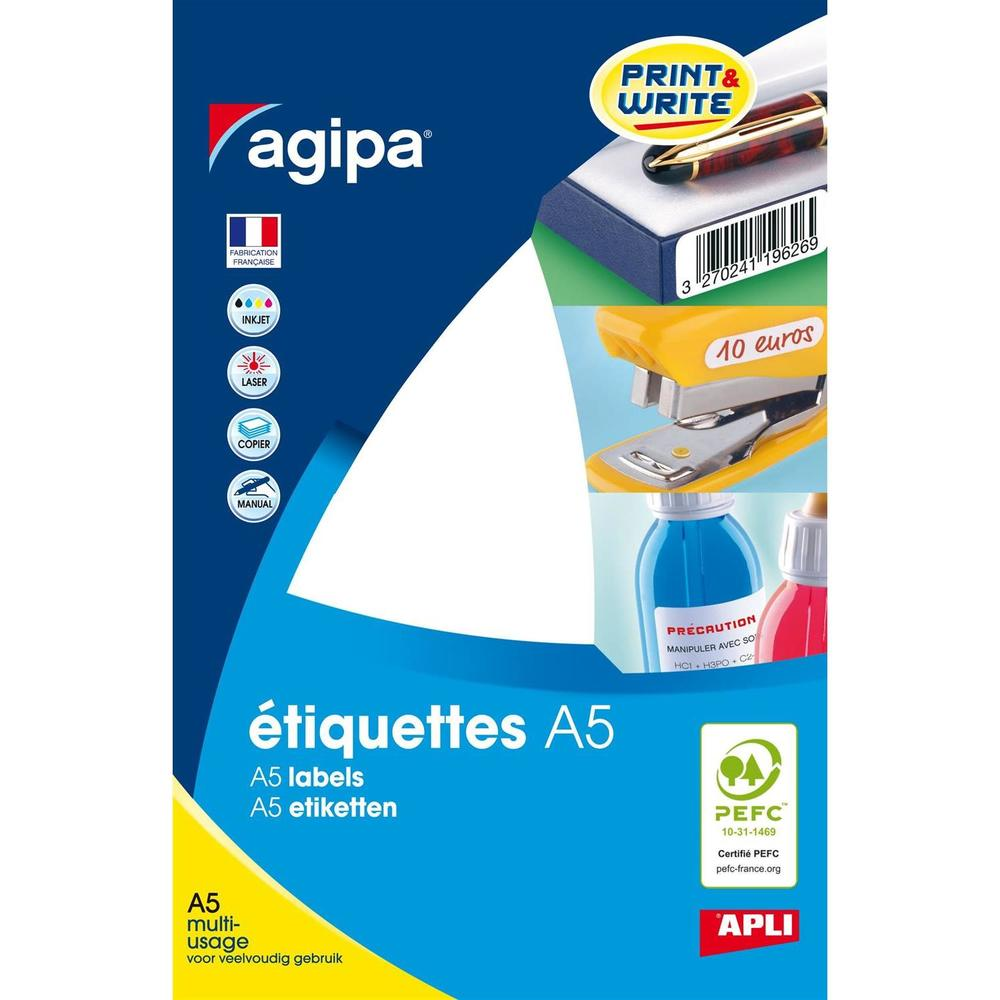Etui A5 ( 16F ) de 64 Étiquettes multi-usage Permanentes 97,5x68 mm Blanc