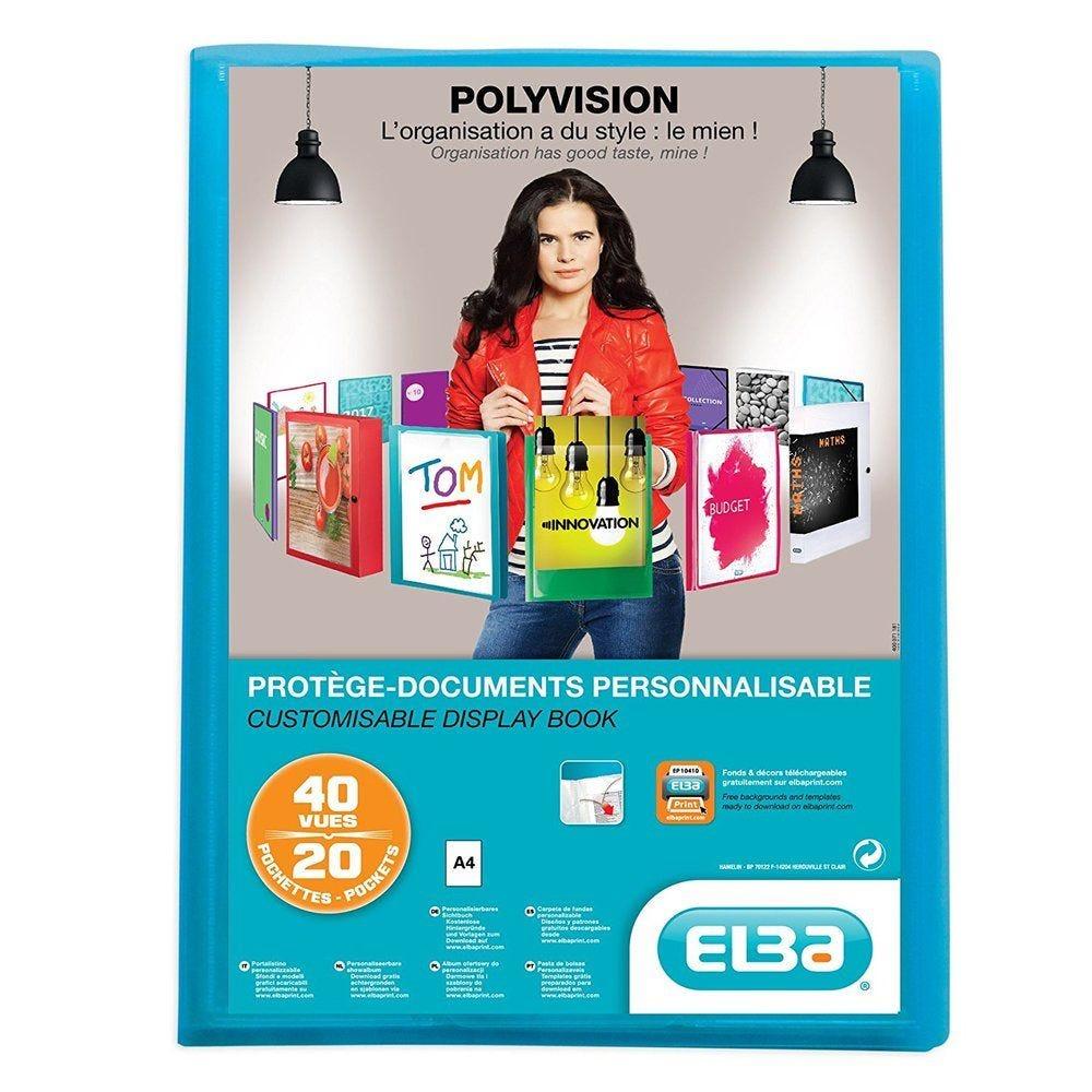 Protège-documents Transparence personnalisable A4 20 Pochettes Bleu