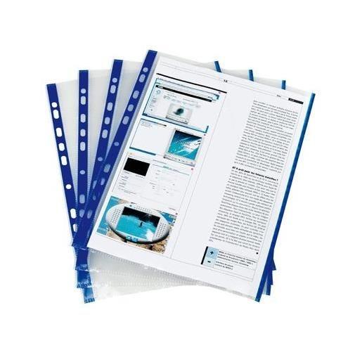 Pochettes perforées A4 bords colorés Bleu - Sachet de 10