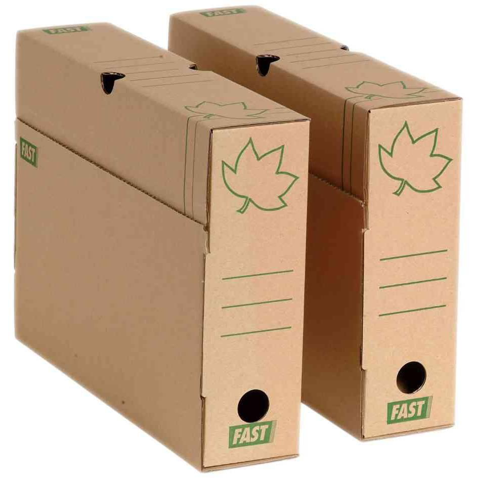 boîtes archives 'Nature Line' Carton brun dos de 8cm - par lot de 10