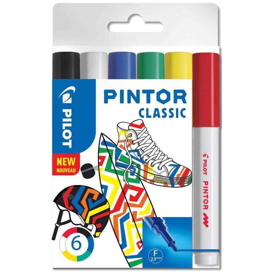 Marqueur à pigment PINTOR, fin, set de 6 'CLASSIC MIX'