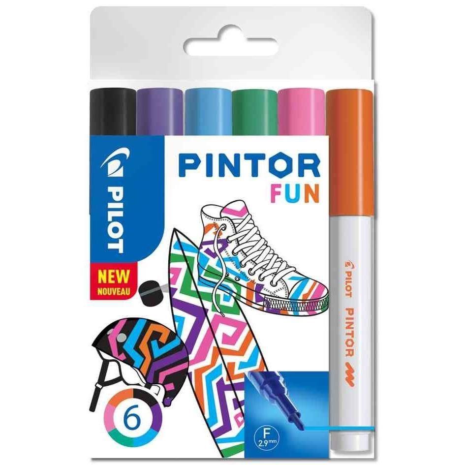 Marqueur à pigment PINTOR, fin, set de 6 'FUN MIX'