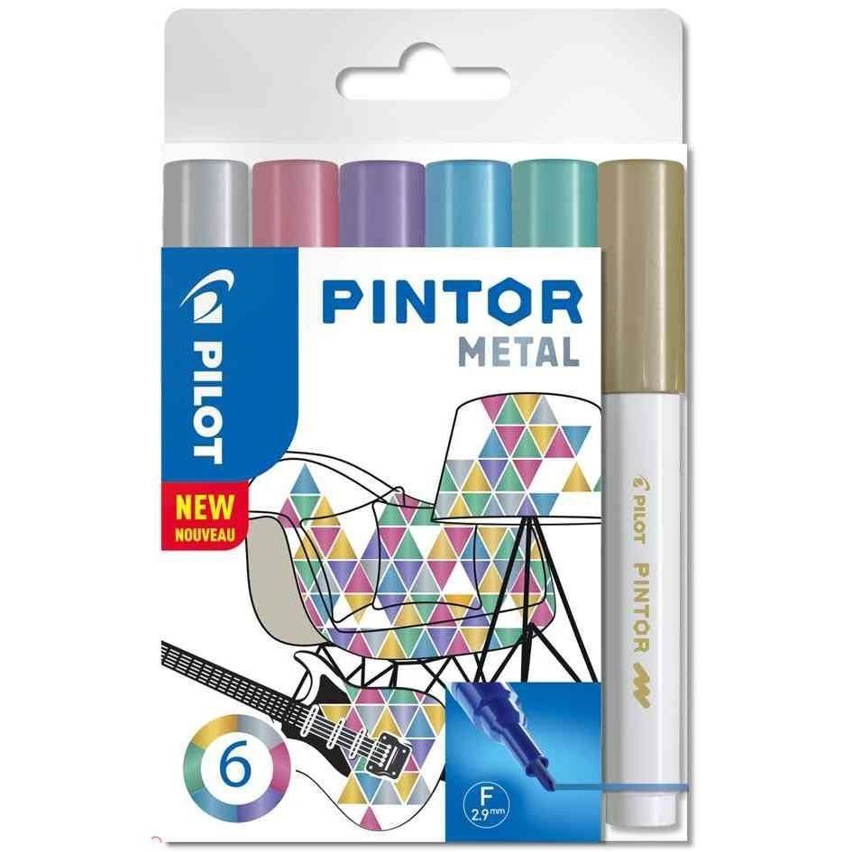 Marqueur à pigment PINTOR, fin, set de 6 'METAL MIX'