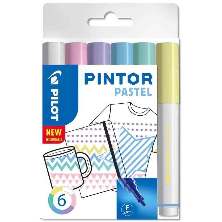Marqueur à pigment PINTOR, fin, set de 6 'PASTEL MIX'