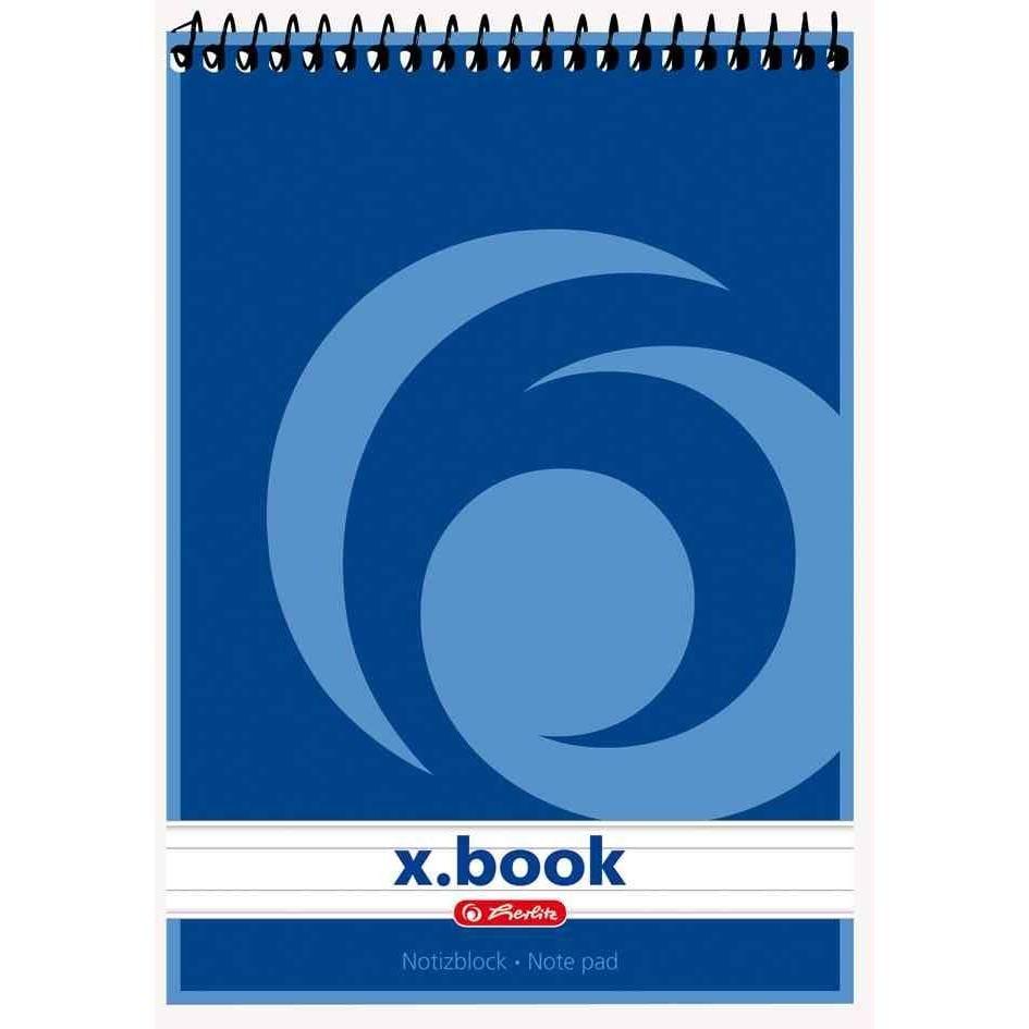 Bloc-notes à spirale x.book A7 50 pages 70g ligné Blanc