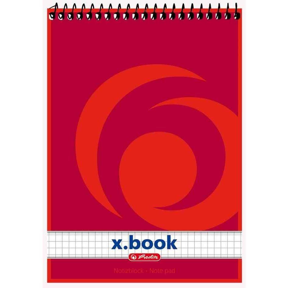 Bloc-note à spirale x.book, A7 50 Feuilles Quadrillé 60g