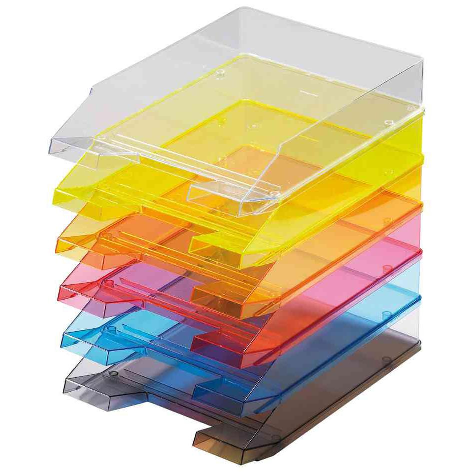 Corbeilles à courrier Economy A4 Transparent Jaune - par lot de 5