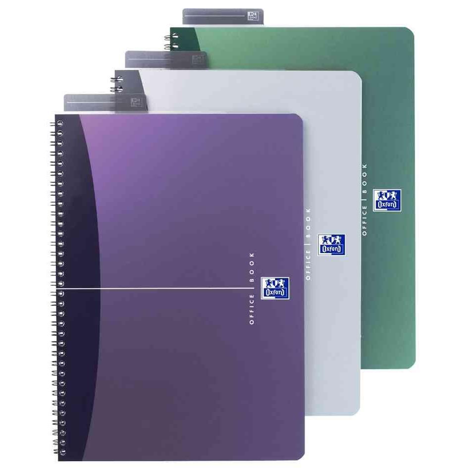 Cahier 'OFFICE' Reliure intégrale A4 Ligné 90 F 90g Couv. Polypro Assorties