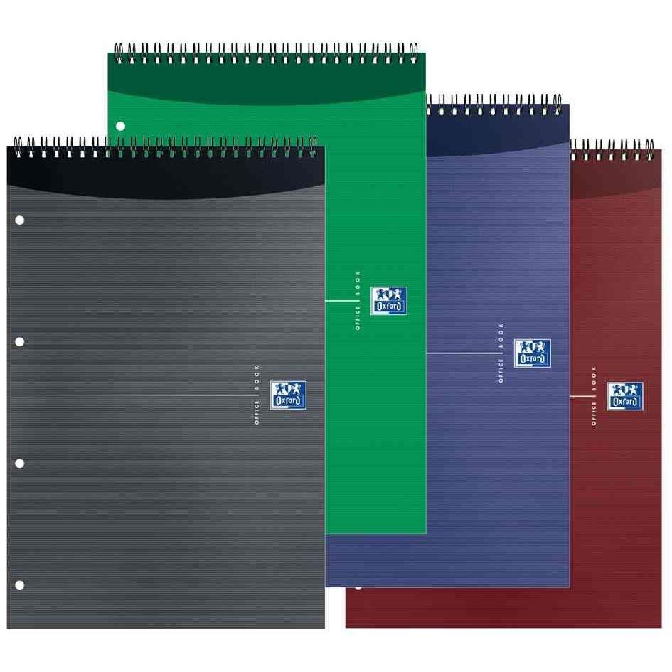 Bloc-notes, A4+, Quad 5x5, 90g, 160 pages, Perfo 4 Trous, couv Carton péllicullé