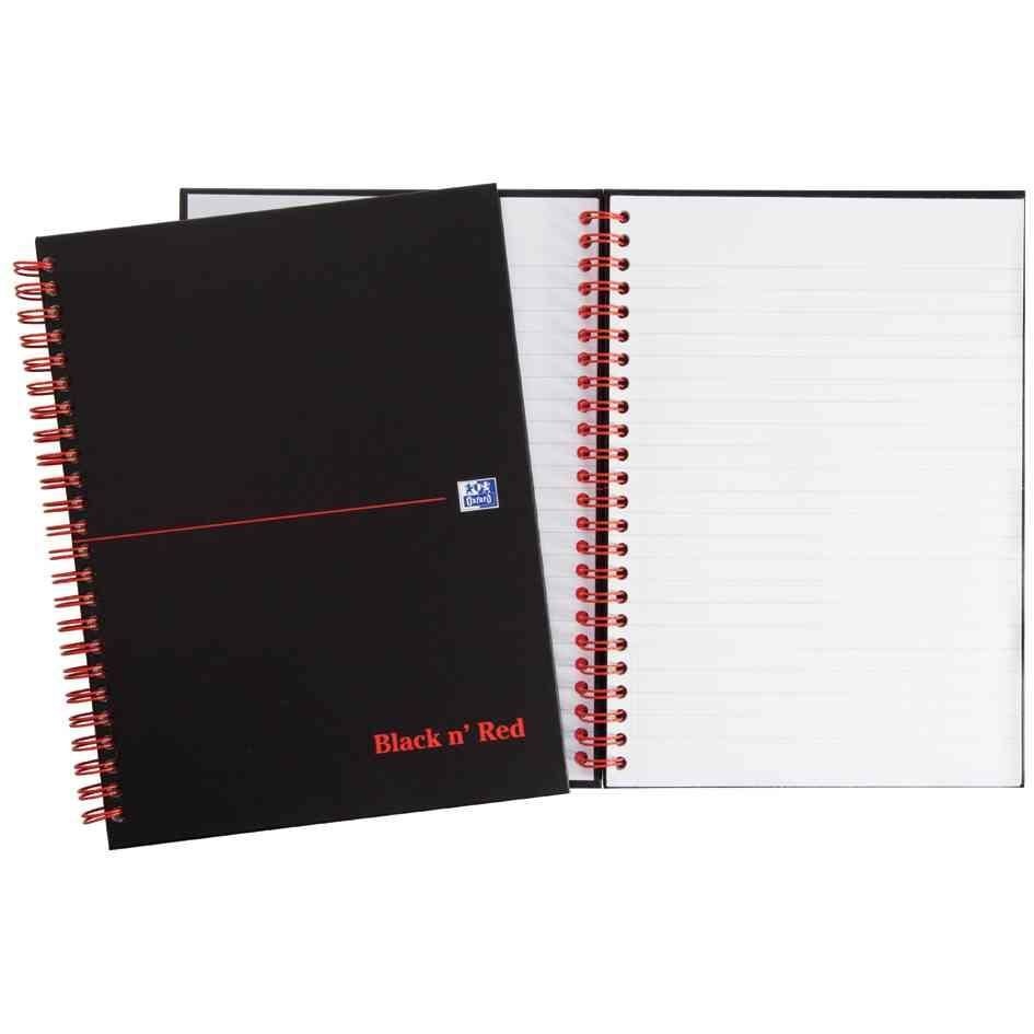 Cahier Black n'Red Spiralé 140 pages ligné 7mm + marge format 14,8x21 cm