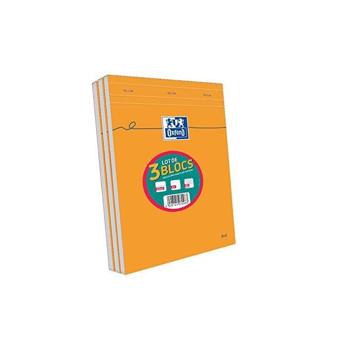 Bloc-notes Orange A4 Quadrillé 5x5 80 feuilles 80g - par lot de 3