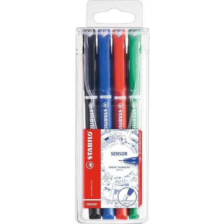 Pochette de 4 stylos-feutres pointe extra-fine sur amortisseur