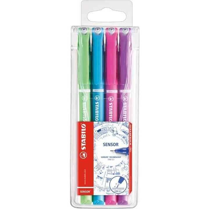 Pochette de 4 stylos-feutres pointe extra-fine sur amortisseur Couleurs fun