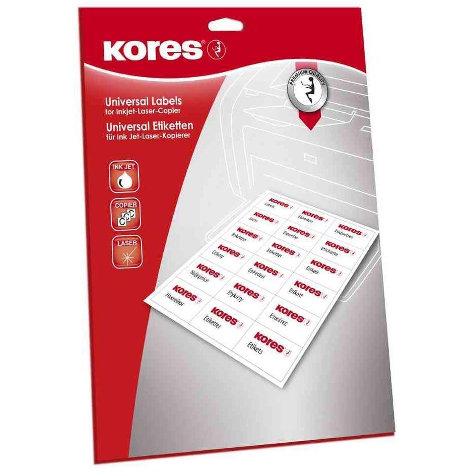 Étiquettes universelles 38 x 21,2 mm blanches 1625 sur 25 Feuilles A4