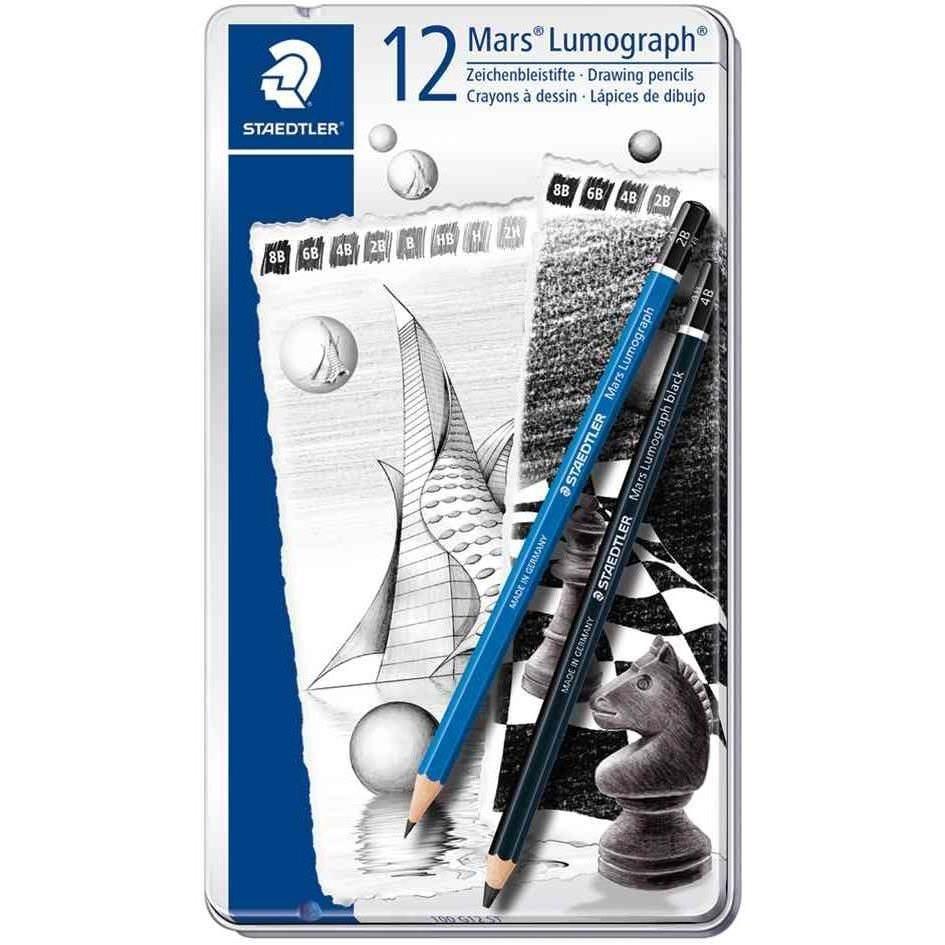 étui en métal de 12 crayons Mars Lumograph kit