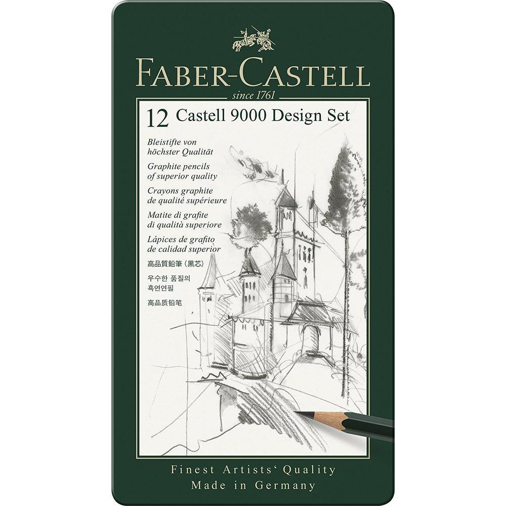 Etui de 12 Crayons CASTELL 9000 Design Dureté Assorties