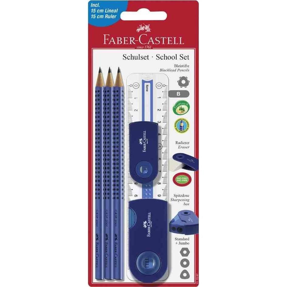 Kit scolaire SLEEVE 3 Crayons B + Règle + Gomme Bleu