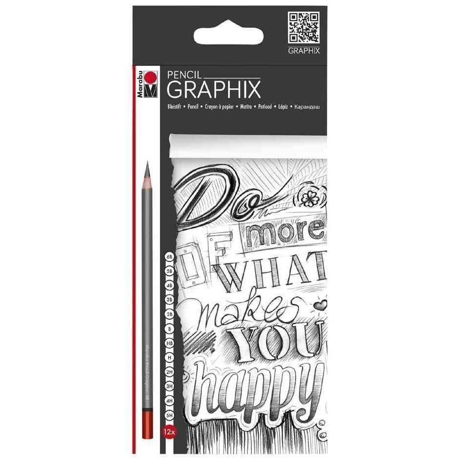 Etui de 12 Crayons à dessin 'GRAPHIX' graduation assortie