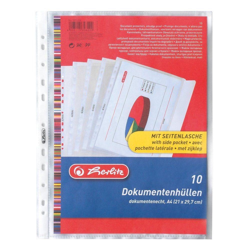 pochettes perforées avec rabat de fermeture pour A4 grainée 12/100e - par lot de
