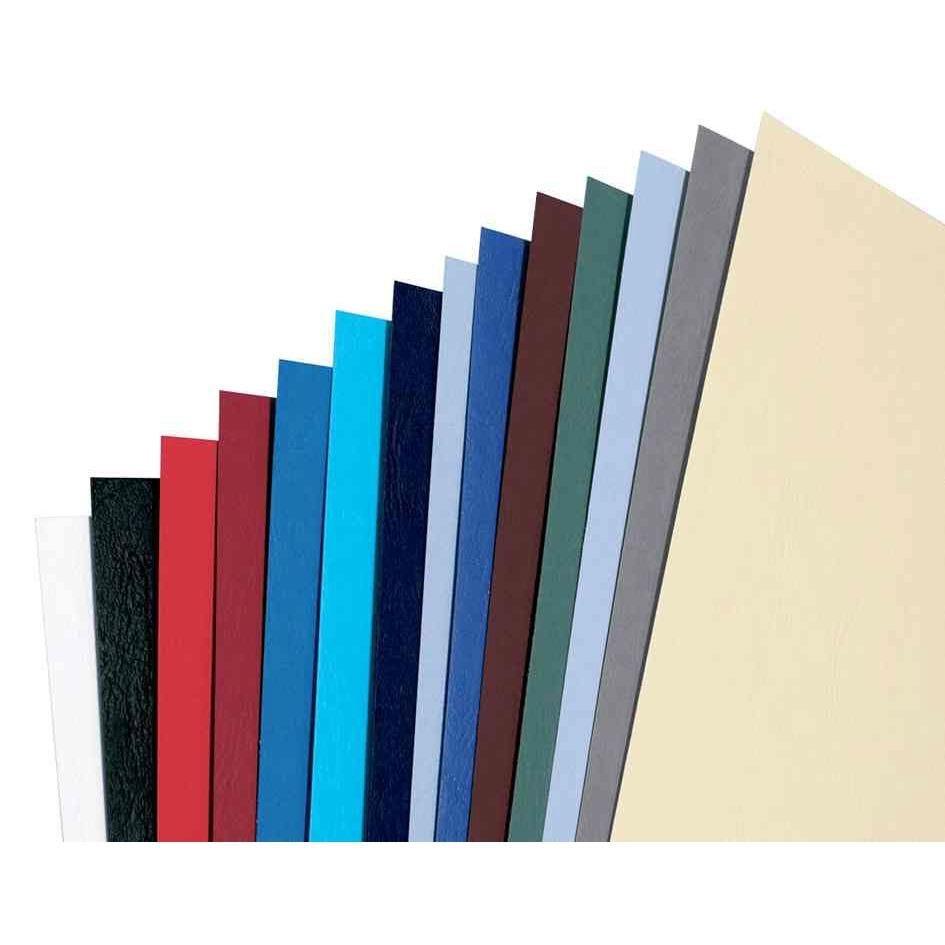 Plats de couverture A4 grain cuir LeatherGrain 250g/m2 bleu roi - par lot de 100