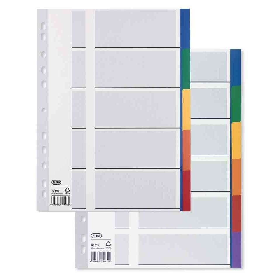 Intercalaire plastique 12/100eme 6 onglets colorés