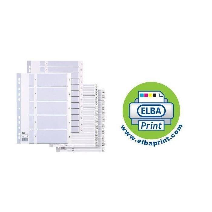 intercalaire numérique en plastique, format A4, blanc