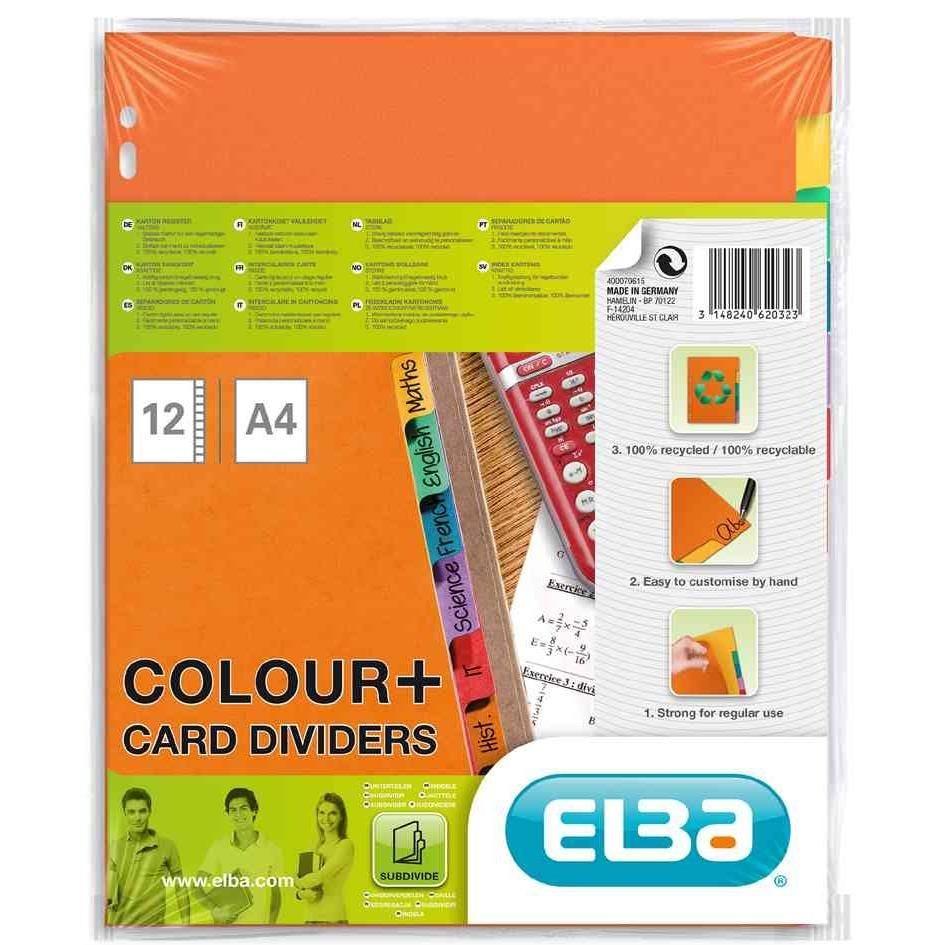 Intercalaire Cartonné 250g A4 12 touches multicolores