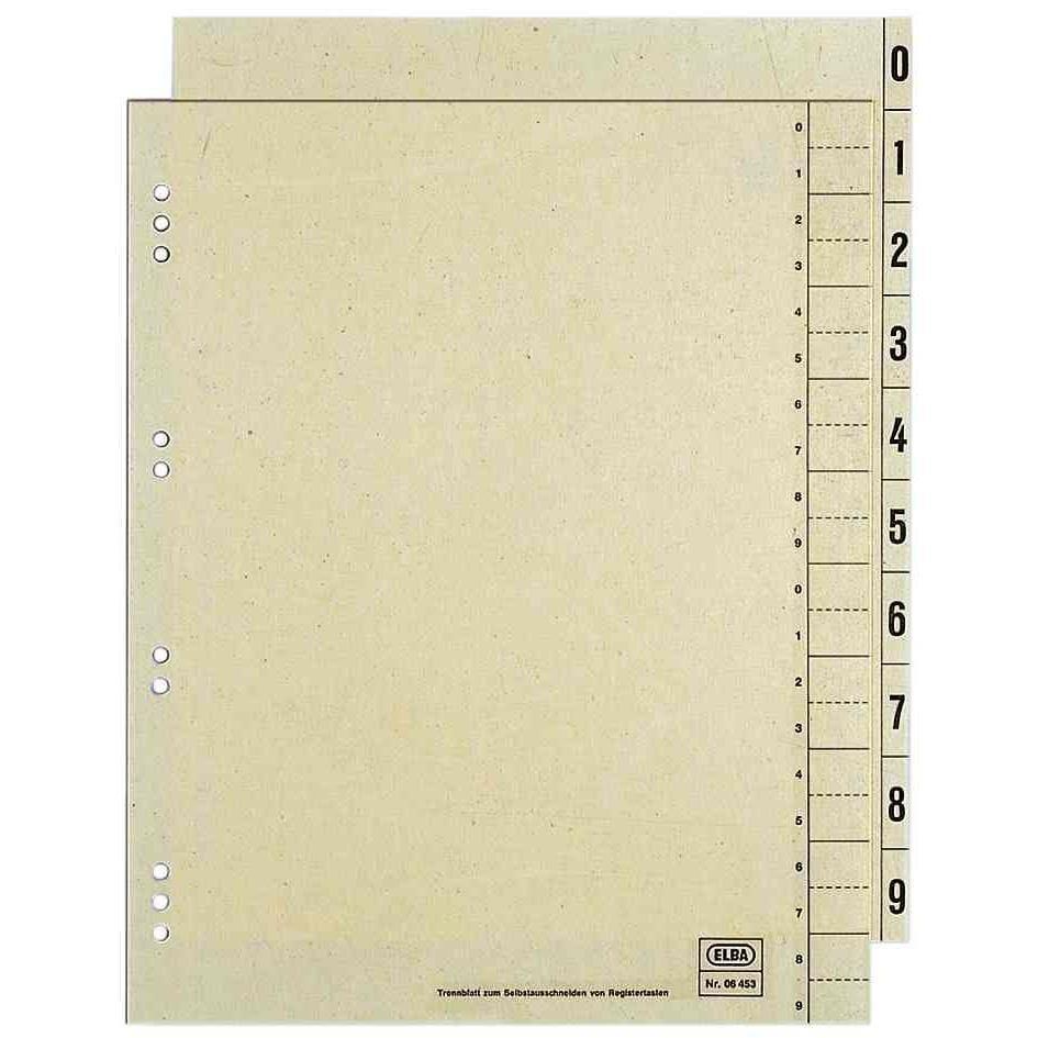 Jeu intercalaires Numérique Carte 230g Chamois 24 x30 cm 0 - 9