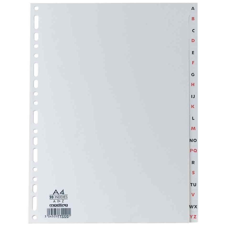 registre en plastique, format A4, PP, A-Z, 20 pièces
