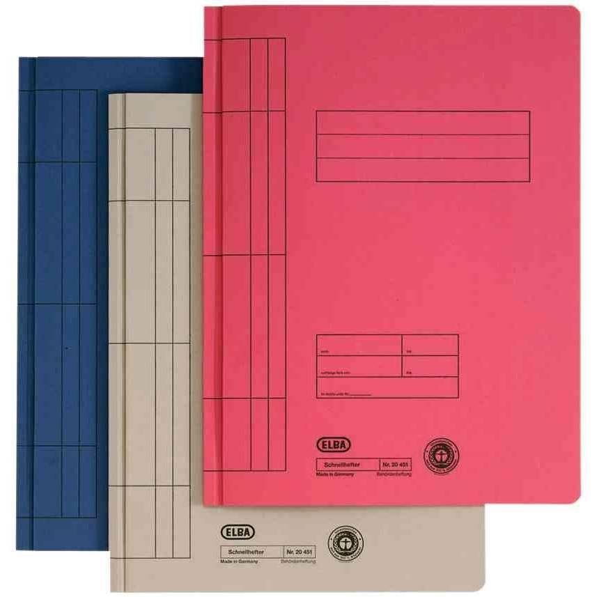 100 x farde à lamelle A4 en carton manila (RC), gris (photo)