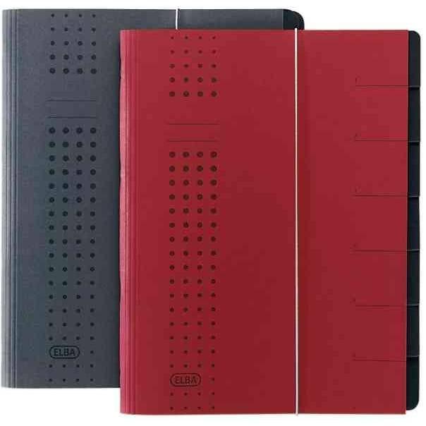 Chemise à élastique chic, A4 rouge, compartiments 1-7