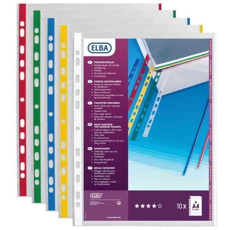 Pochettes perforées A4 avec bord couleur PP 0,09 mm Assorties - Sachet de 10